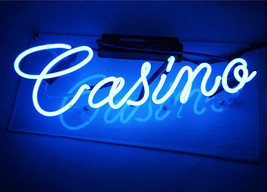 "Handmade 'Casino' Room Decor Play Room Art Light Neon Sign 14""x5"" - $59.00"