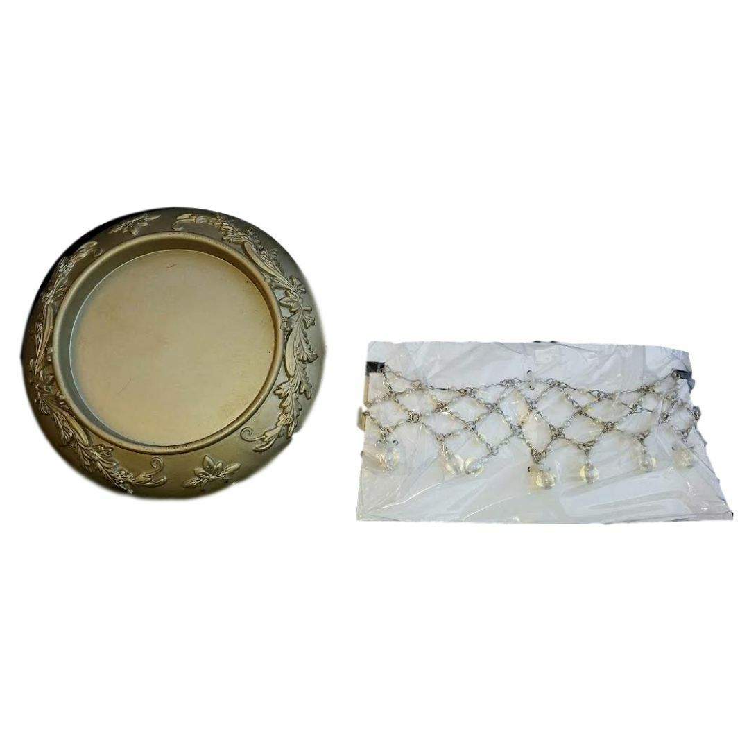 Home Interiors Candle Plate and Necklace Set/2 CNAC LAST ONE NEW HOMCO HIG 80401 - $14.85