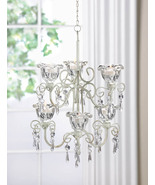 Two Tiered Candle Chandelier Crystal Blooms Distressed Ivory w/ 6 Candle... - $43.95