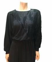 Vintage 80's prom dress Retro cocktail black shine dress - $22.00
