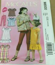 McCalls M6500 Girl Top Dress Leggings Sz 3-6 Easy Pattern U/C Back To School BTS - $12.71