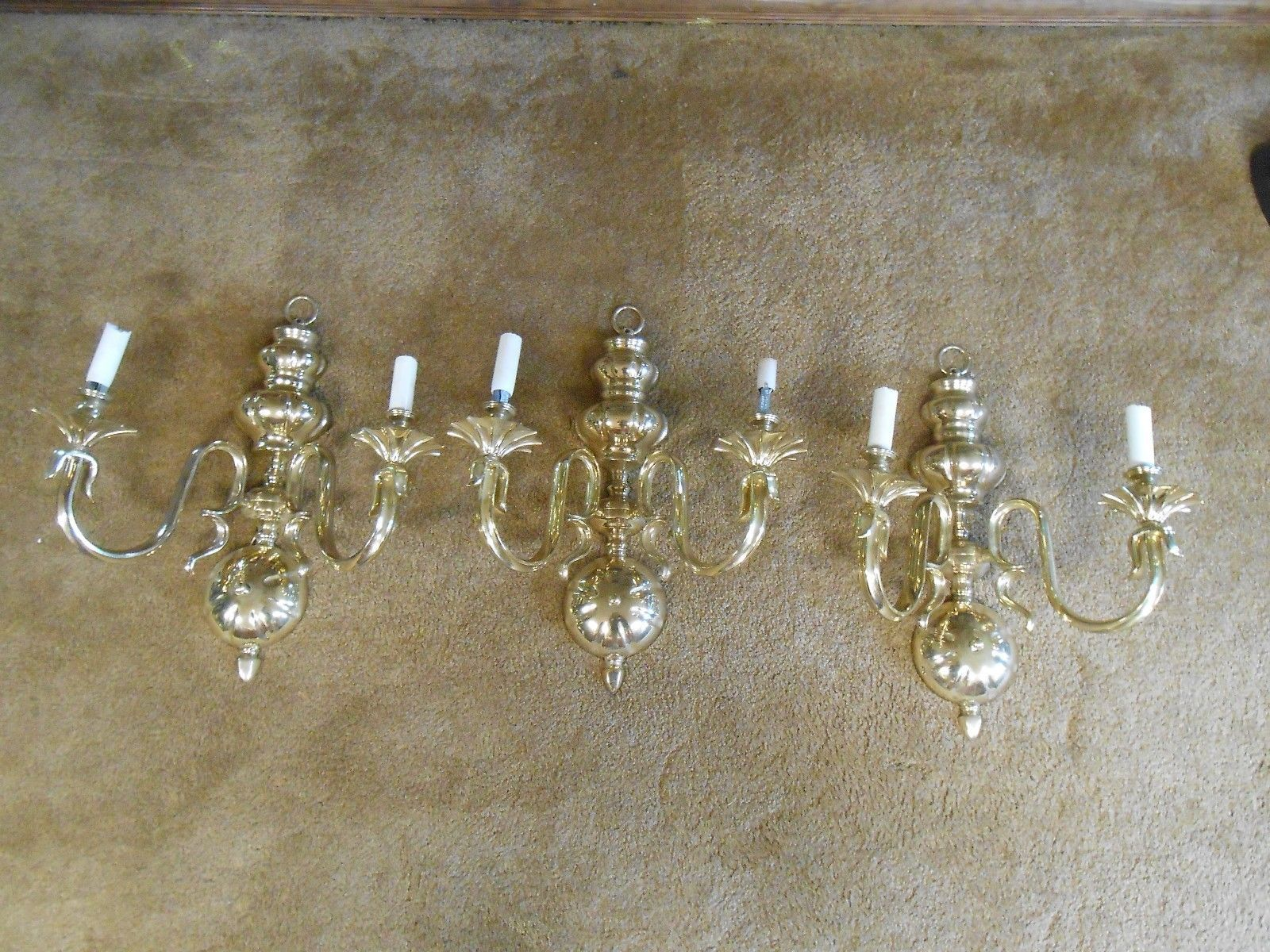 Outstanding Collectible 3 BRASS Wall SCONCES Candle or Electrified..........SALE