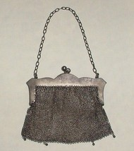 VINTAGE Silver Mesh Purse ART DECO Floral Design Deely Lee Massachusetts - $155.00