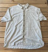 tommy Bahama men's short sleeve embroidered button up Silk shirt sz XL cream D2 - $28.71
