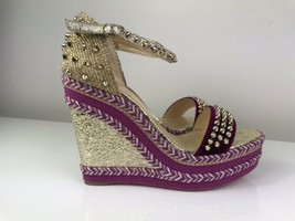 Christian Louboutin Madmonica Purple Velvet Gold Spike Wedge Sandals 41 - £337.35 GBP
