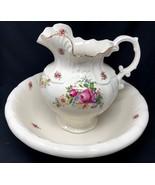 Vintage Arnel's wash basin bowl & water pitcher floral rose w/ gold - $129.99