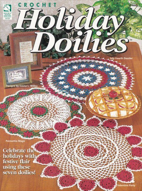Primary image for Holiday Doilies ~ Crochet NEW OOP Festive Flair Celebrate Elegant Decorative