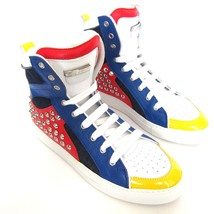 W-601241 New Dsquared2 Red Blue Hi-Top Studs Sneakers Marked Size 41  US-8 - $359.99