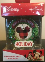 Disney Have a Merry Mickey Holiday Wreath Christmas Tree Ornament 2019 NIB Ears - $8.73
