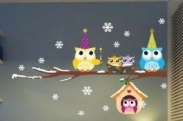 Christmas Owl Snowflake Wall Stickers Home Decals Children Decor Removab... - $4.95