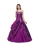 Vintage Purple Prom Party Dresses Taffeta Quinceanera Ball Gown Sweet 16... - £67.65 GBP