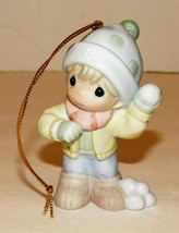 Precious Moments Porcelain Bisque Ornament 710019 Winter's Such a Ball S... - $15.99