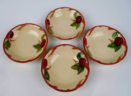 "4 FRANCISCAN APPLE  BERRY DESSERT FRUIT BOWLS 5 1/8"" USA  - $14.84"