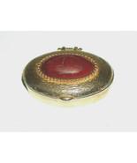 """Vtg Ovale Oro Rosso Tone 1.5 """" Metallo a Molla Coperchio Portapillole Porta - $12.39"""