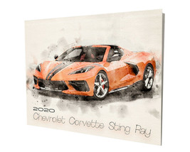 2020 Chevrolet Corvette Sting Ray Orange Design 16x20 Aluminum Wall Art - $59.35