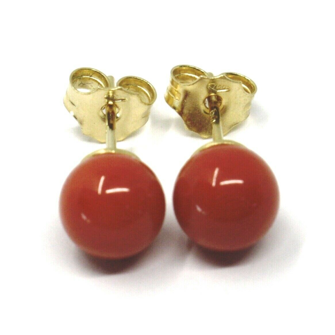 18K YELLOW GOLD BALLS SPHERES RED CORAL BUTTON EARRINGS, 7.5 MM, 0.3 INCHES