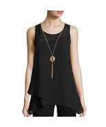 BCX Illusion Asymmetrical-Hem Top with Necklace Size M New Msrp $46.00 - $19.99
