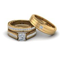 His & Her Trio Wedding Ring Set 14k Yellow Gold 925 Silver Princess Cut White CZ - $178.50