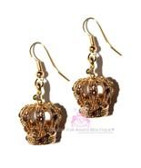 Princess Beauty for Ashes Boutique Goldtone Crown Drop Cognac Crystals E... - $29.00