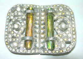 UNUSUAL GLASS RHINESTONE ANTIQUE OLD POT METAL LADIES BELT BUCKLE SIGNED... - $200.00