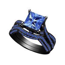 14k Black Gold Fn 925 Silver Princess Cut Blue Sapphire Women's Bridal Ring Set - $89.55