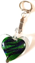 crystal heart with deep green colouring handmade in uk from uk made parts keyrin