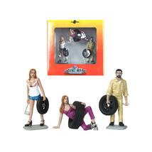 Val, Meg and Gary Tire Brigade 3 piece Figurine Set 1/24 by Motorhead Mi... - $38.64