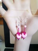 pink heart earrings long drop dangles plastic glass beaded handmade jewelry - $6.99