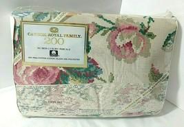 NEW Vtg Petit Point Sampler Twin 3 pc Sheet Set Lace Cottagecore Cannon Royal - $58.36