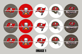 Printed Precut TAMPA BAY BUCCANEERS inspired 1 inch images for bottlecap... - $2.00