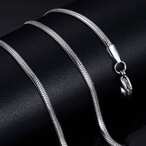 Mens White Gold Snake Box Chain Necklace - $16.39