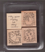 Stampin Up Very Merry Christmas Stamp Set Mounted Christmas Tree Angel S... - $14.49
