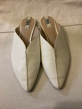 Zara White Pointed Toe Flats Slide Mules Sandals Size 38 EU- 7.5 US NWOB - $48.38