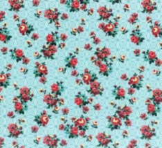 Hoffman Fabrics Nasturtium Floral Aqua 100% cotton fabric by the yard - $8.64