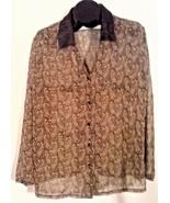 SECRET TREASURES WOMEN'S SHIRT BLOUSE BROWN BUTTON DOWN XL - $7.77