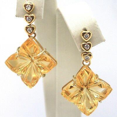 Drop Earrings Yellow Gold 18K, Diamonds,Quartz Citrine,Hearts,Flowers