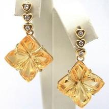 Drop Earrings Yellow Gold 18K, Diamonds,Quartz Citrine,Hearts,Flowers image 1