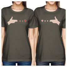 Gun Hands With Hearts BFF Matching Dark Grey Shirts - $30.99+