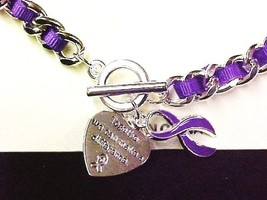 Purple Awareness Ribbon Link Bracelet Engraved Charm Silver Many Cancer Causes - $7.97