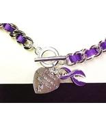Purple Awareness Ribbon Link Bracelet Engraved Charm Silver Many Cancer ... - $7.97