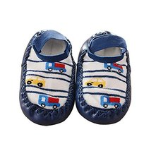 Dark Blue Color Truck Pattern Anti-slip Newborn Baby Socks image 2