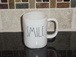 Rae Dunn SMILE Rustic Mug, Ivory with Black Letters, New! - $11.00