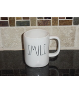 Rae Dunn SMILE Rustic Mug, Ivory with Black Letters, New! - $12.00
