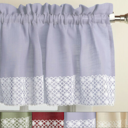 Primary image for Salem Kitchen Window Curtain w/ Lace Trim - 12 x 60 Valance