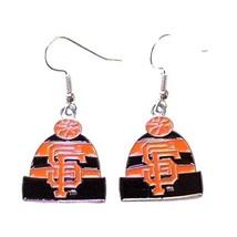 SAN FRANCISCO GIANTS KNIT BEANIE HAT CAP EARRINGS W/TEAM LOGO Official L... - $7.79