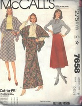 McCALL'S PATTERN 7658 DATED 1981 SIZE 10/12/14 MISSES' SKIRT & SHAWL UNCUT - $3.90