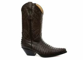 Grinders Carolina Croc Brown Leather Crocodile Tail Boot Cowboy Western ... - £129.28 GBP