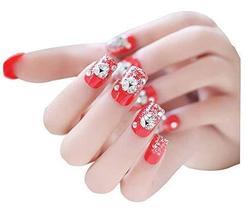 2 Boxes(48 Pieces) Classical Wedding DIY 3D Design False Nails, Red Crystal
