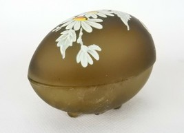 Westmoreland Glass Egg Trinket Box, Chocolate Brown, Hand Painted Daisies - $19.55