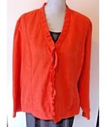Chico's Womens Blazer Jacket Size 3 (XL) Salmon Orange Single Clasp Ruffle Trim - $19.45